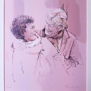 portret in kleurtint twee personen