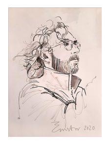 zwart-wit portrettekening