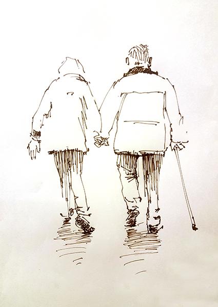 Wandelend echtpaar